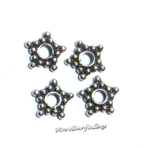 Bali 925i Sterling Silver 7mm 20 pcs.Star Spacer Beads Handcrafted Findings New