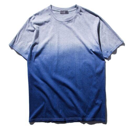 Mens Tie Dye Cotton Fade Gradient Color Short Sleeve T-Shirt Tee Top Plus Size