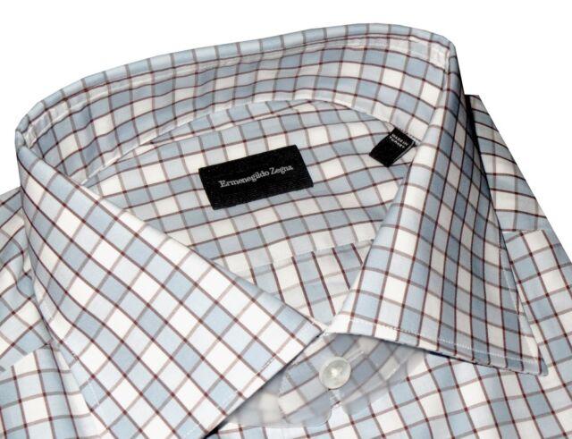 $425 NWT ERMENEGILDO ZEGNA WHITE LIGHT BLUE BOX GRID BROWN DRESS SHIRT 42 16.5