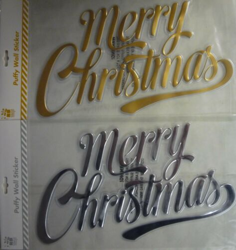 1 x merry christmas gold silver puffy wall door window stickers decorations gold