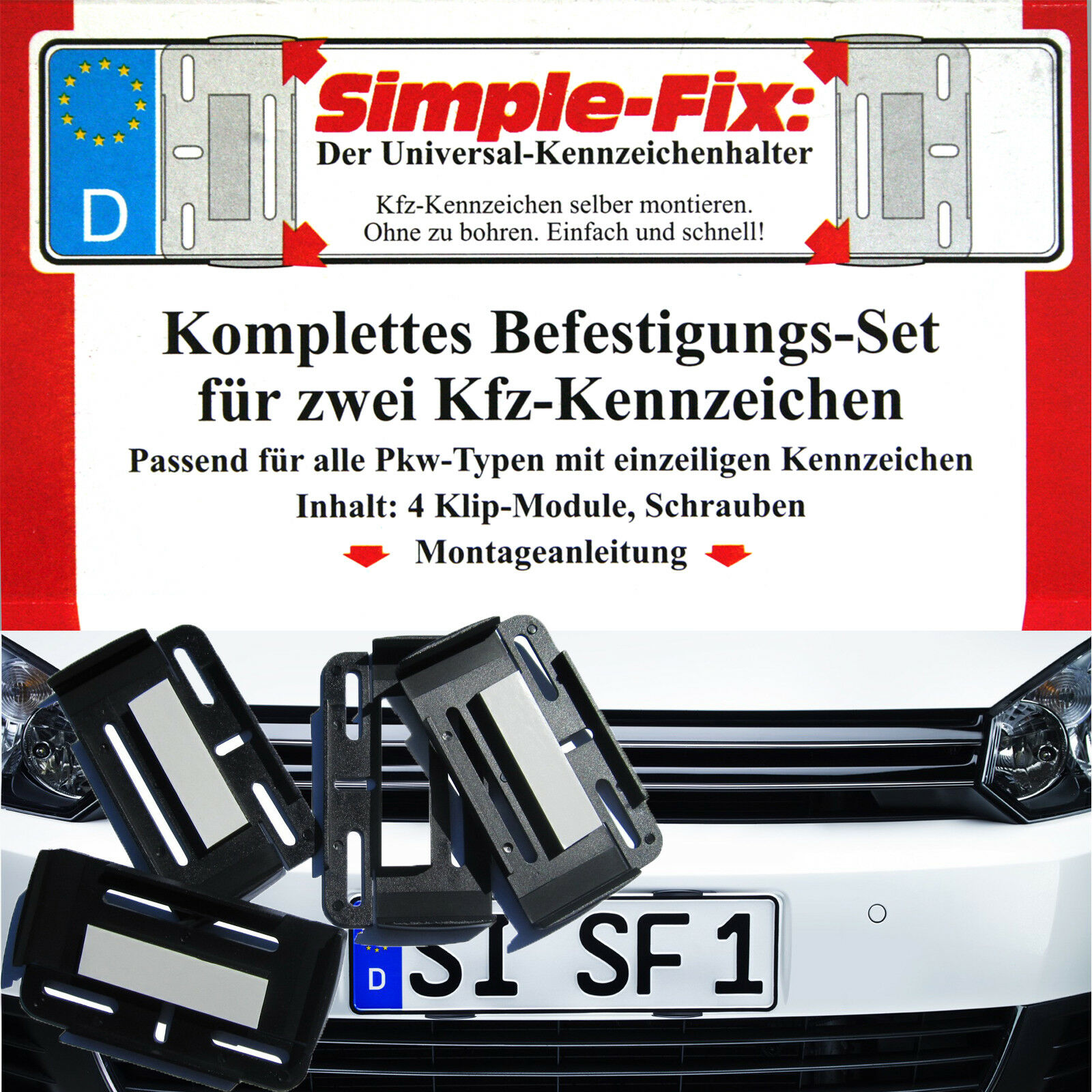 Kennzeichenhalter Simple fix 2er-set | eBay