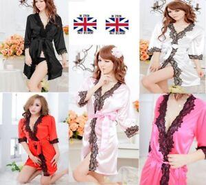 Details About Nightwear Kimono Sexy Nightwear Silk Satin Lace Dressing Gown Bath Robe G String