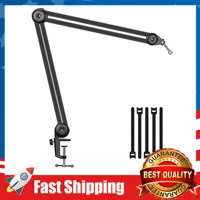 Voice-Over Games Recording Microphone Stand Desk Suspension Boom Scissor Arm Stand Professional Adjustable Mic Stand for Professional Streaming