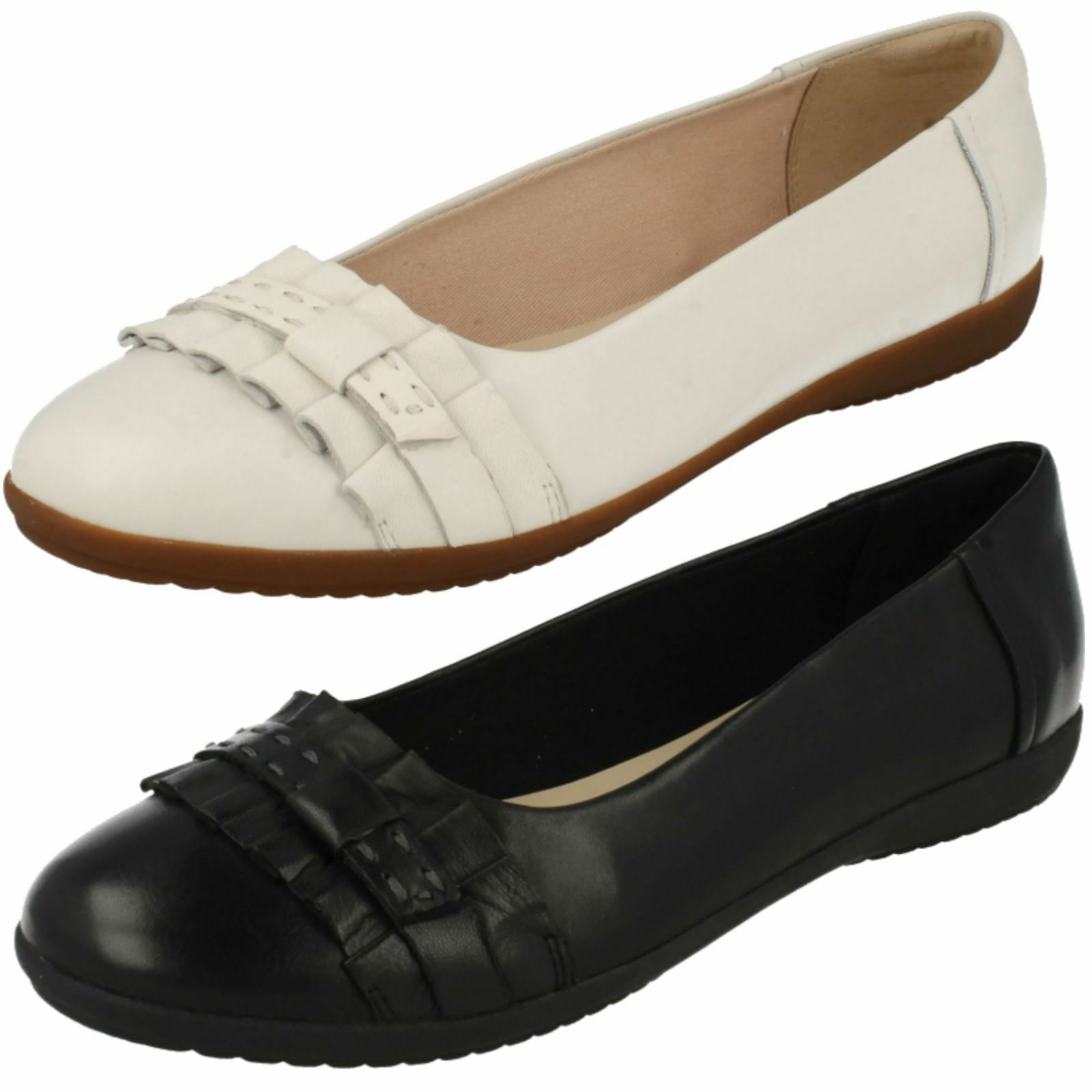 Ladies Clarks Feya Island Black Or White Leather Smart Slip On Shoes
