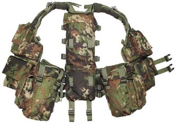 Tactical Combat Weste Army Outdoor Gotcha Paintball vegetato woodland 12 Taschen