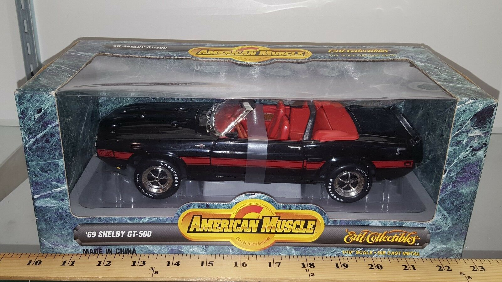 1 18 Ertl American Muscle 1969 Ford Shelby GT-500 Converdeible Ónix Negro YD
