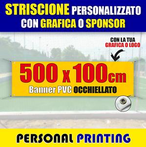 STRISCIONE PUBBLICITARIO PERSONALIZZATO 5x1 m striscioni BANNER PVC economico