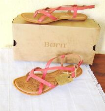 NEW Born Mai 9/40.5 Thong Sandals Red(Salmon) Leather Strappy Flat Boho