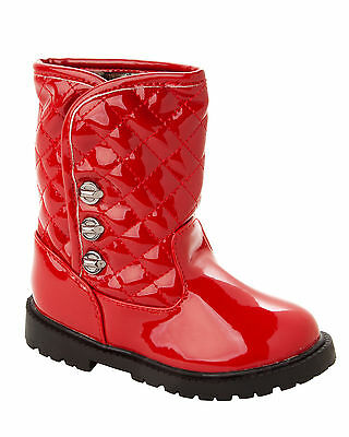 GIRLS PATENT QUILTED WARM FUR LINED CASUAL WINTER ANKLE BOOTS INFANTS SIZE 3-7