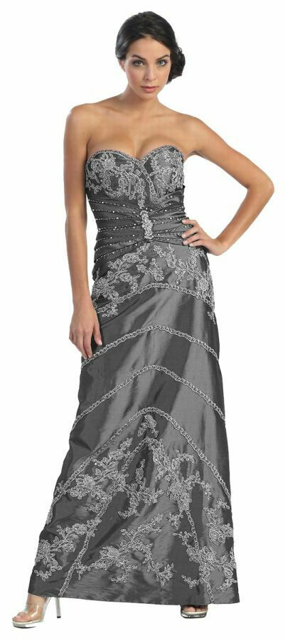 Abendkleider Ballkleider für Hochzeitsgast lang festlich Brautmutter-Kleid Gr 34