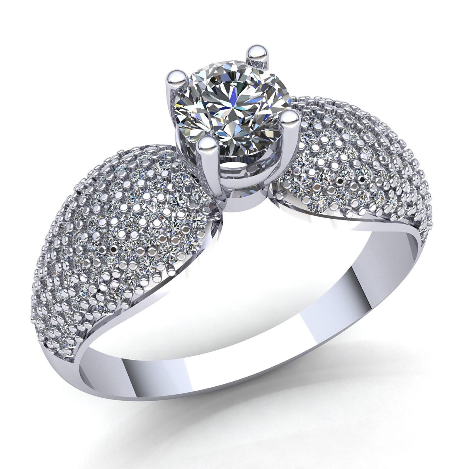 Genuine 1ct Round Cut Diamond Ladies Cluster Solitaire Engagement Ring 10K gold