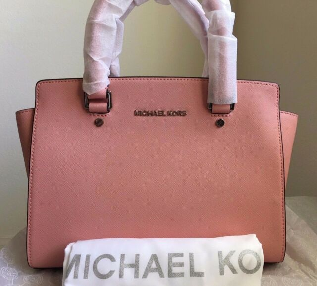 782cebdfc718 MICHAEL MICHAEL KORS Selma Medium Saffiano Leather Satchel $298 Pale Pink  Silver