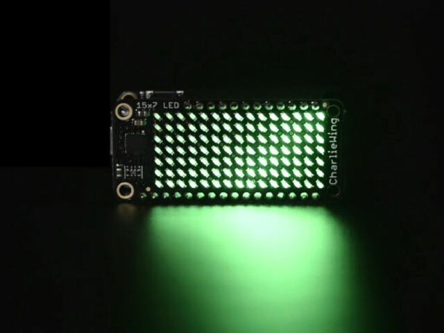 Adafruit 15x7 Charlieplex LED Matrix Display Featherwing - Green
