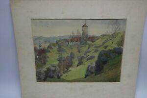 Gustav-Mueller-Aquarell-Burg-in-Waischenfeld-1956