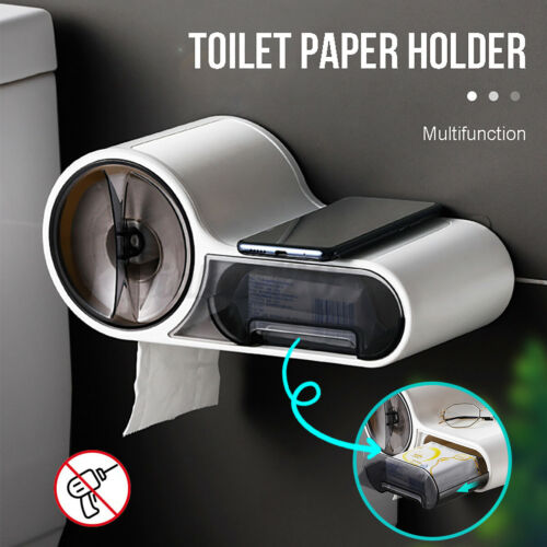 Wall Mounted Bathroom Paper Holder Roll Tissue Box Toilet Stand Holder Case