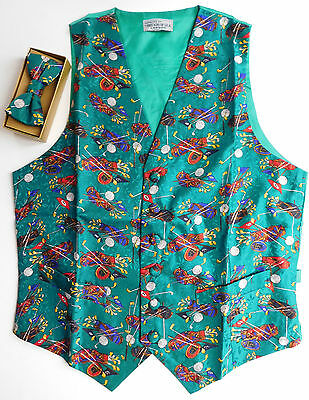 Silk golfers waistcoat Bow tie set NEW chest size 36 38 40 46 inches Golf gift
