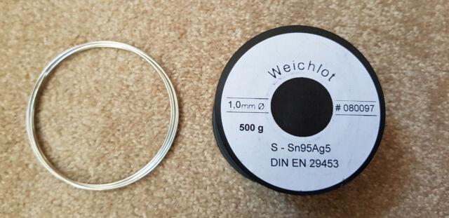 1m Sn95Ag5 Silber Lötzinn bleifrei Weichlot Elektroniklot wie Weller, STANNOL