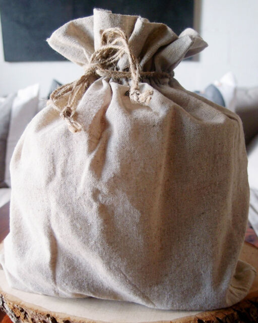 Natural Linen Favor Bags with Jute Drawstrings, 12-pack