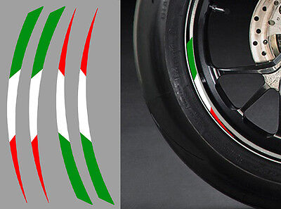 "ra087 Nice 4 X Stickers Italie Roue Jante 17"" Ducati Aprilia Guzzi Autocollant Moto Nourishing Blood And Adjusting Spirit"