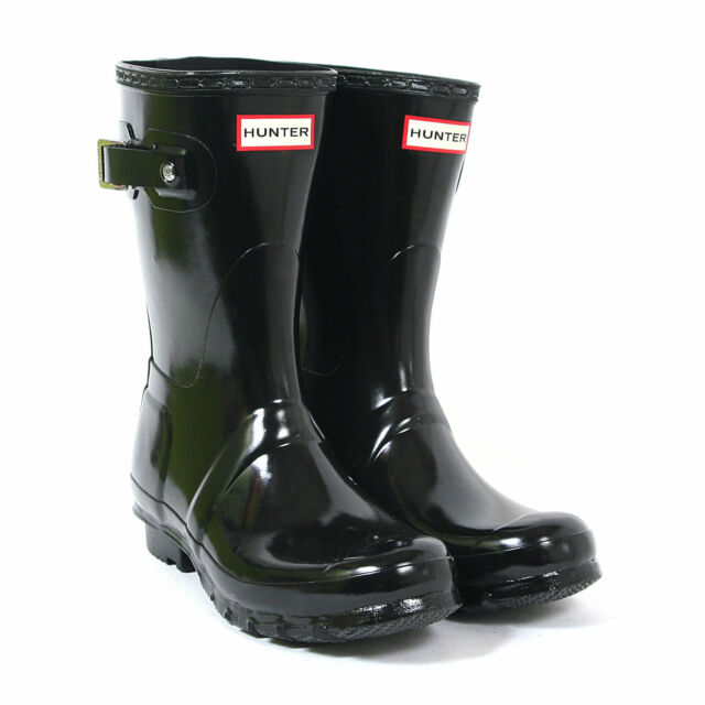 9a0d3bb98681 Hunter Original Short Gloss Rain BOOTS 743 Black 5 US   36 EU for sale  online