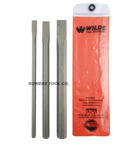 """Extra Long Cold Chisel Set 1//2 3//4 /& 1"""" Cut Made in USA Wilde Tool 3pc 12in"""