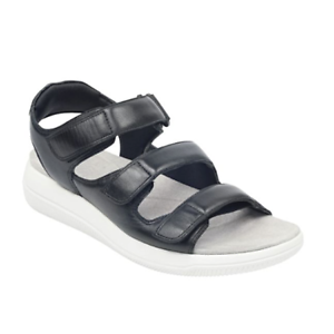 Women-039-s-Easy-Spirit-Shadow8-Black-Leather-Sandals-Med-amp-Wide-Widths-Shoes-Sz