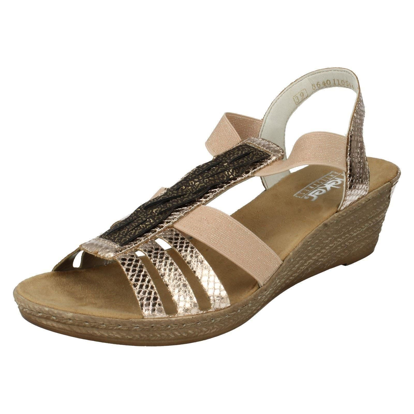LADIES RIEKER 62479-90  GOLD WEDGE SANDAL