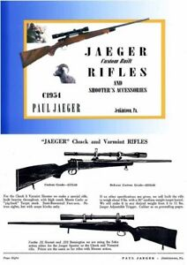 jaeger custom built rifles and accessories c1954 catalog jenkintown