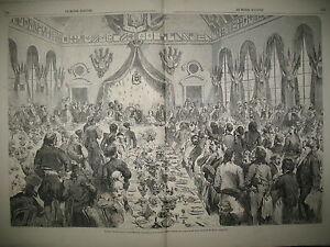 BRETAGNE-RENNES-BANQUET-NAPOLEON-III-GARNISON-DE-PARIS-Mal-MAGNAN-GRAVURES-1858