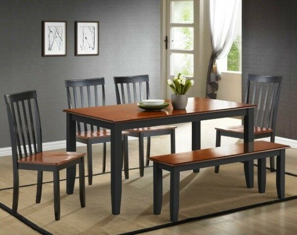 6 Pc Black Cherry Dining Room Set Kitchen Table Chairs Bench Wood Furniture  Sets