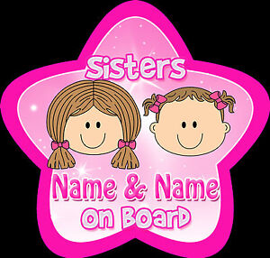 Sisters-Fair-Star-Shaped-Personalised-Baby-Child-On-Board-Car-Sign-Pink
