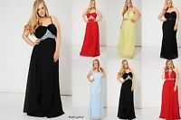 Uk Long Evening Formal Prom Party Dress Ball Gown Bridesmaid Size 10 12 14 16 20