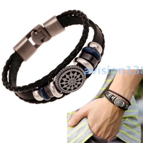 Women//Men Leather Cute Cool Braided Cuff Wrap Bracelet Jewelry Punk Wristband EF