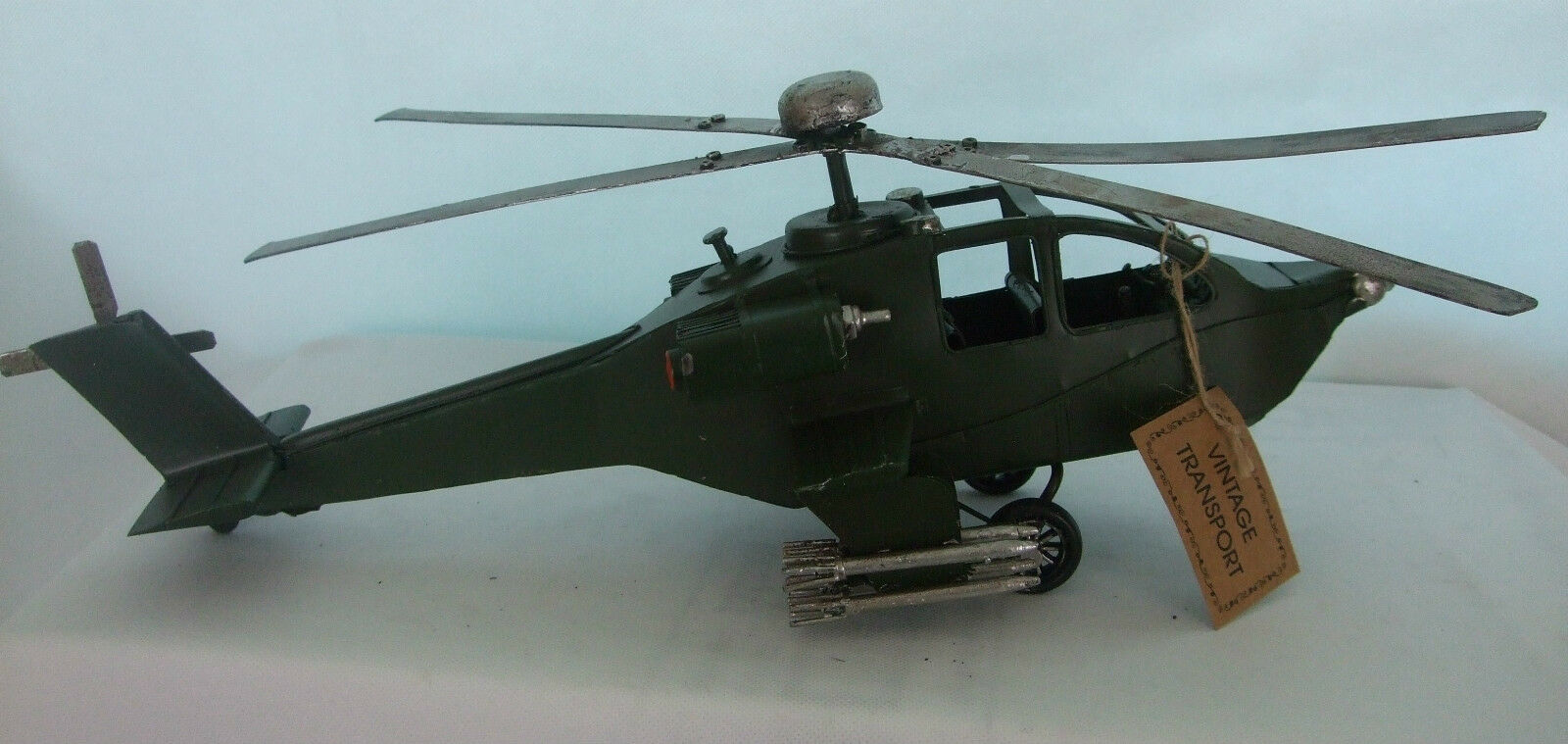 Tin Plate Model of a Vintage large Army Helicopter  Green  Ornament  Gift Boxed