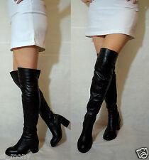 Women Black Over Knee Boots Real Leather Block Heel Half Zip Toshop Size 4