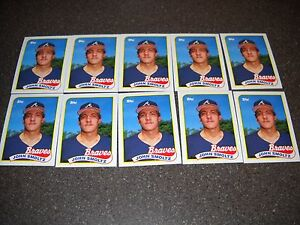 Lot of (10) 1989 Topps RC John Smoltz Atlanta Braves #382 Rookie