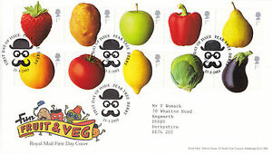 25-MARCH-2003-FUN-FRUIT-amp-VEG-ROYAL-MAIL-FIRST-DAY-COVER-PEAR-TREE-DERBY-SHS-c