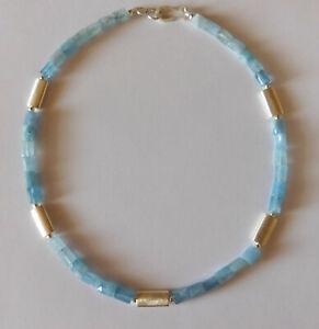 Aquamarin Collier - Kette - Santa Maria -  Zwischenteile Silber 925