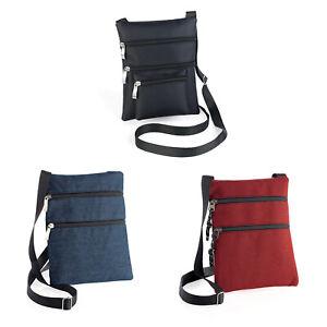 Ladies-Cross-Body-Hip-Bag-Shoulder-Strap-Purse-Zipped-Denim-Blue-Red-Black