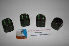 ,Black, Brown, Gray Dice with Green pips Valve Stem Caps, T bucket, Hot Rod