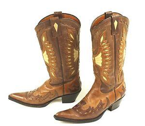 1d buffalo westernstiefel cowboy boots leder braun gr 37 langer schaft ebay. Black Bedroom Furniture Sets. Home Design Ideas
