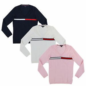 Tommy-Hilfiger-Womens-V-Neck-Sweater-Long-Sleeve-Knit-Pullover-Big-Logo-Flag-New