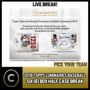 2019 TOPPS LUMINARIES BASEBALL 6 BOX (HALF CASE) BREAK #A285 - PICK YOUR TEAM