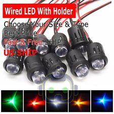 3mm 5mm 8mm 10mm Pre Wired Led Holder Dc9 12v Diffused Lights Emitting Diodes