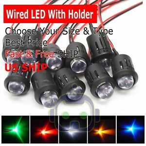 10 20Pcs 3mm 5mm Pre Wired LED Holder DC9-12V Diffused Lights Emitting Diodes