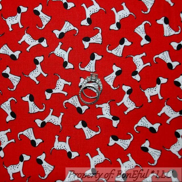 BonEful Fabric FQ Cotton Quilt Red B&W Black White Puppy Dog Fire*Man Dalmatian