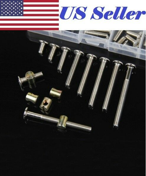 M6 x 10 20 30 40 50 60 70 80 100 120mm Furniture Bolts With 6mm Barrel Nuts