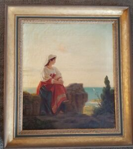FRAMED-amp-SIGNED-Oil-on-Canvas-by-Unknown-Artist-17-034-x-19-034-19th-century