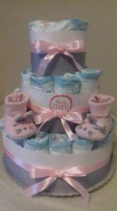 Torta di pannolini GRANDE -40pz SCARPINE BABY rosa