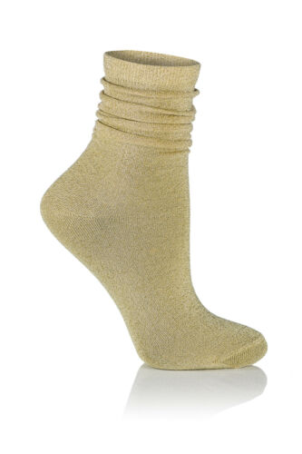 Glamour Stardust Lurex Black Silver Gold Navy Shiny modern women socks T146